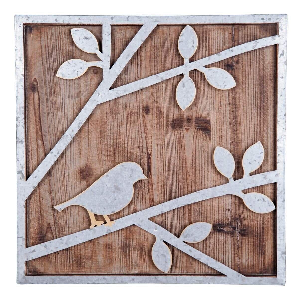 Amazon.com: Foreside Home and Garden Square Tweet Bird Wall Art ...