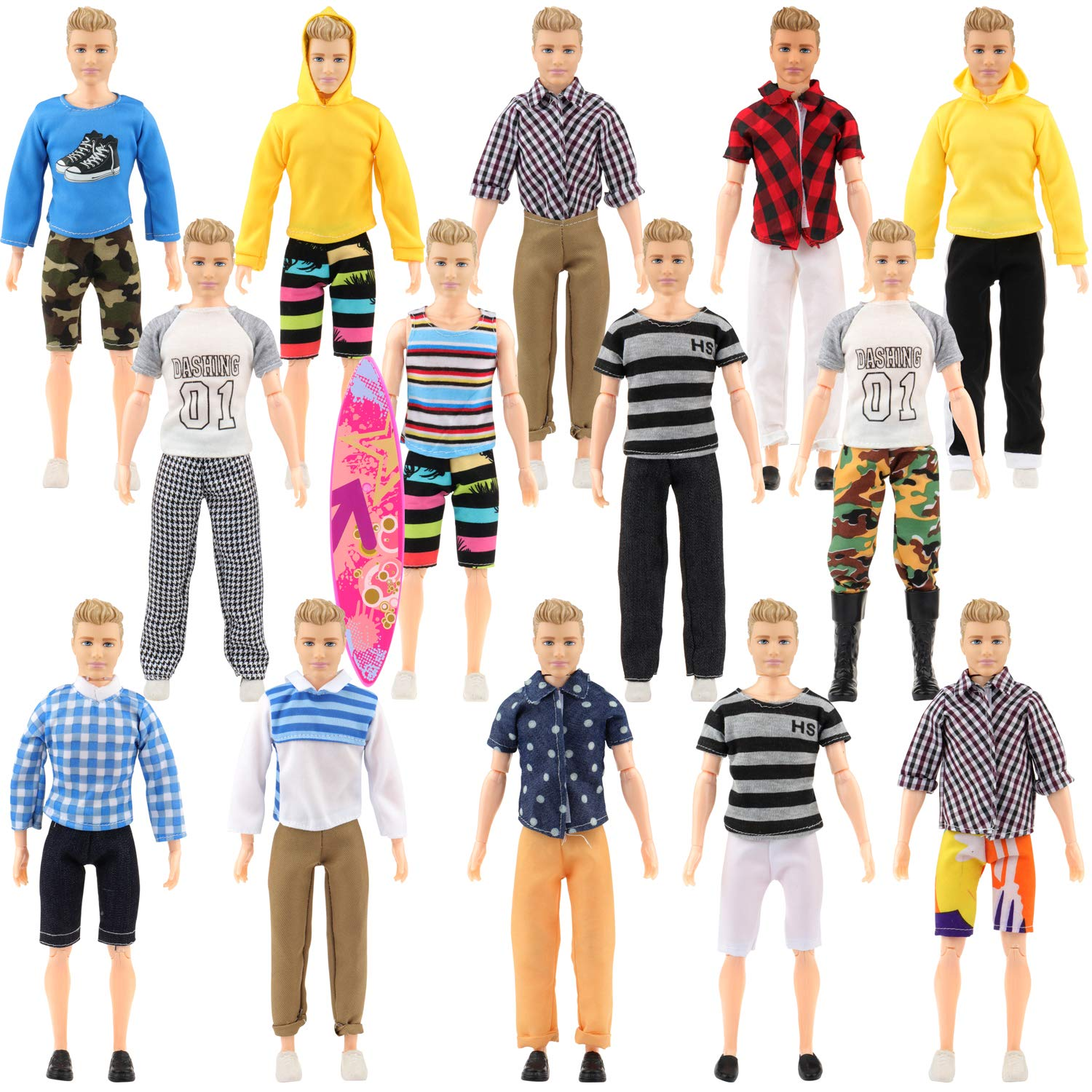 SOTOGO 27 Pcs Doll Clothes Set Include 12 Set Doll Casual/Career Wear Clothes Jacket Pants Outfits with Surfboard and 4 Pairs of Shoes for Ken Dolls