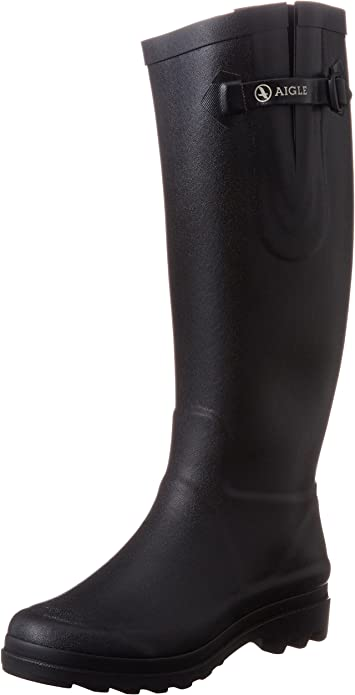 Aigle Aiglentine Wellingtons Womens Ladies Black Wellies Rain Boots Size 4-7.5