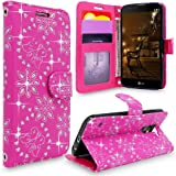 LG Stylus 2 Case, LG G Stylo 2 Case, Cellularvilla [Slim Fit] [Card Slot] Premium Pu Leather Wallet Case [Wristlet] Flip Protective Stand Cover For LG G Stylo 2 / LG Stylus 2 LS775 (Pink Glitter)