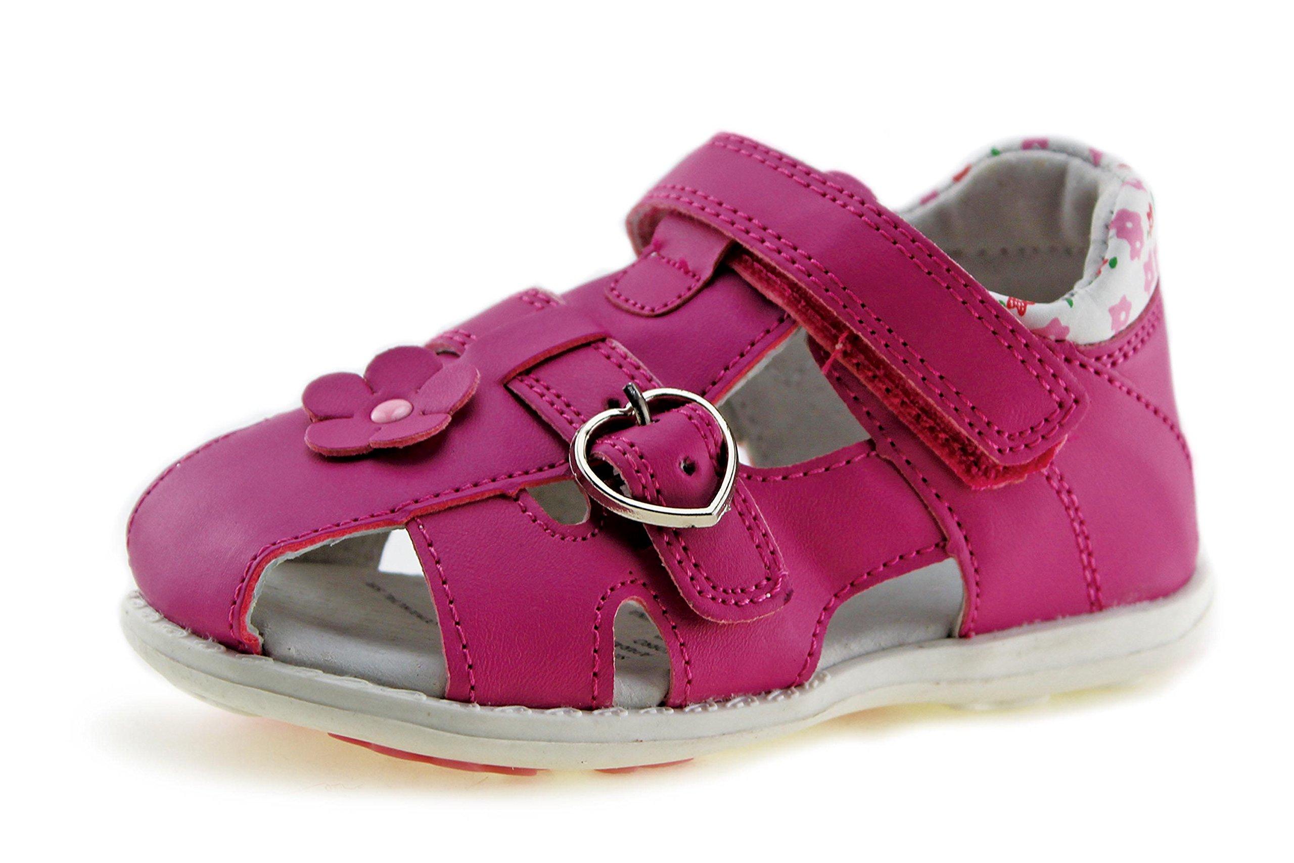 Jabasic Kids Summer Outdoor Boys Girls Closed-Toe Strap Sandals (Toddler/Little Kid (8 M US Toddler, Fuchsia-3)