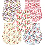 Honey Molly 5 Pack 100% Organic Cotton Burp Cloths for Baby Girls, Floral Pattern Design Burping Rags Absorb Drools & Spit Ups While Keeping Your Clothes Dry, Hypoallergenic, Soft, & Absorbent