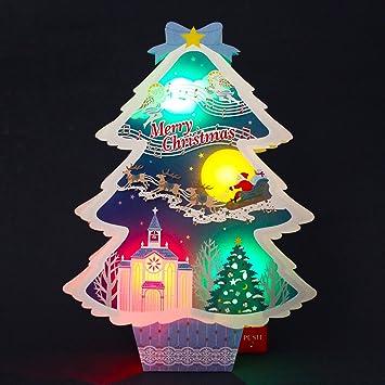 Amazon.com: Iluminado corte láser árbol de Navidad luces y ...