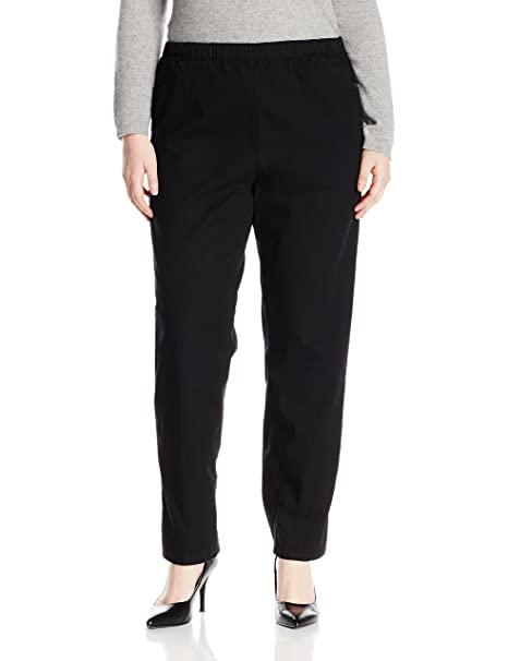 738f3fd3 Chic Classic Collection Women's Petite Plus Cotton Pull-On Pant with Elastic  Waist, Black