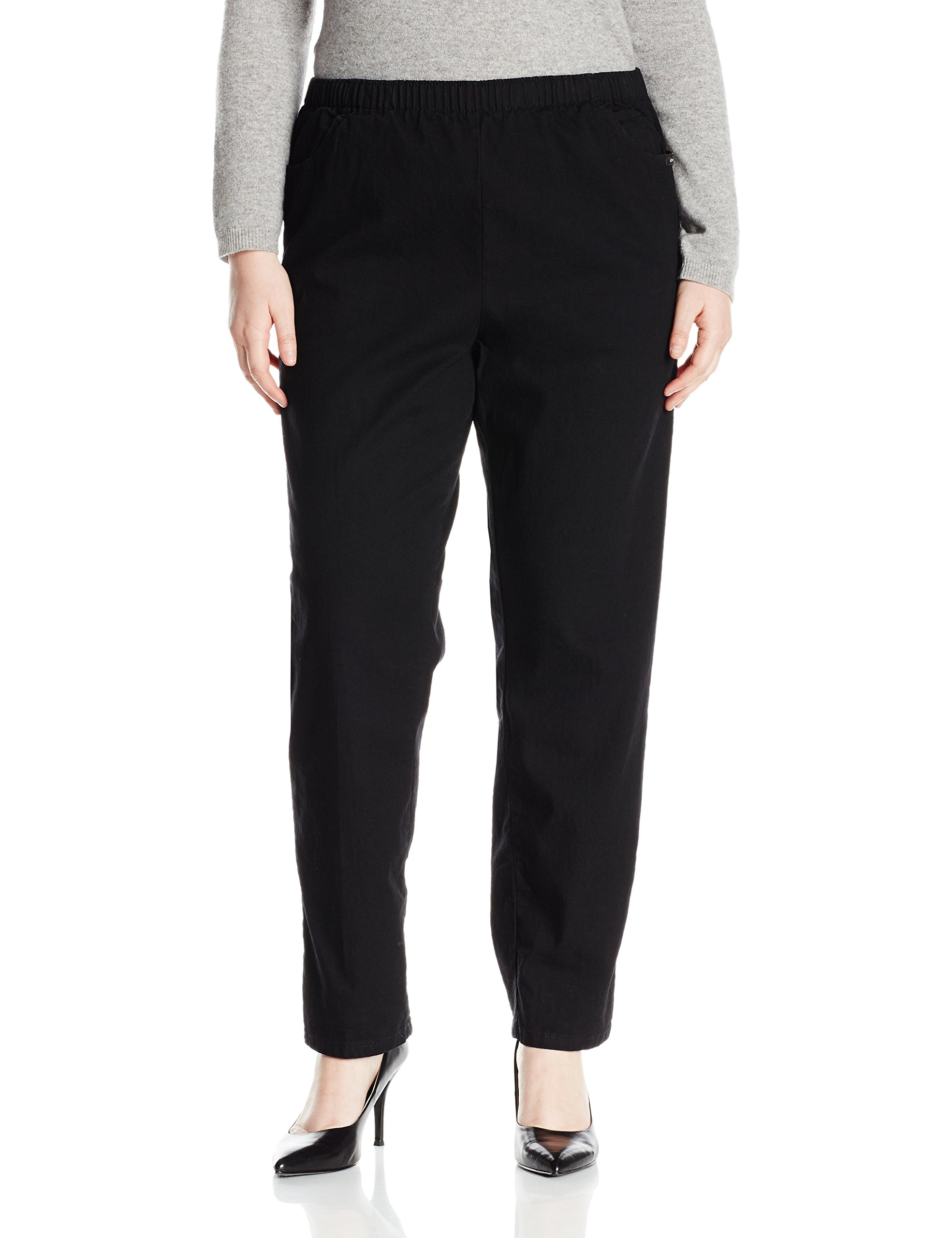 Chic Classic Collection Women's Size Plus Cotton Pull-On Pant with Elastic Waist, Black Denim, 20W