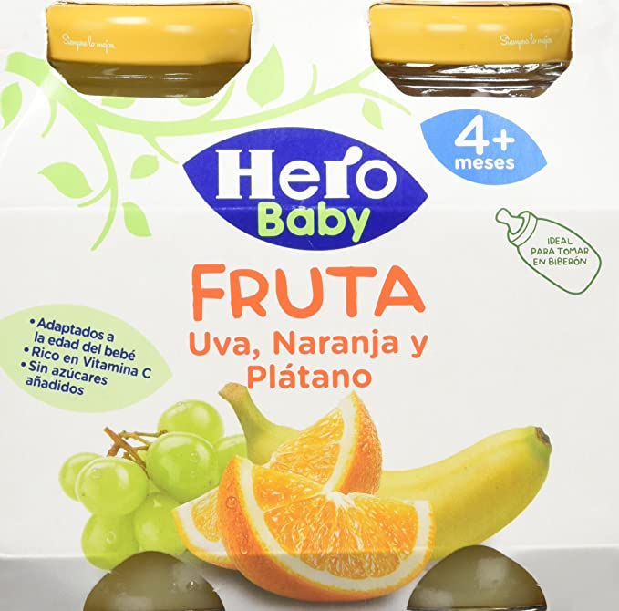 Hero Baby Zumitos Uva Naranja Plátano 260 ml - Pack de 6 (Total 1560 ml