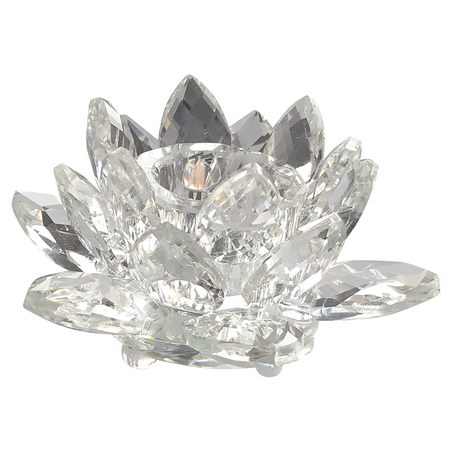 All_In_All Crystal Lotus Flower Candle Holder Crystal Candle Holder With Gift Box Ideal To Use