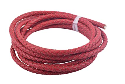 KONMAY 2 Yards 5.0mm Red Genuine Leather Braided Bolo Leather Cord