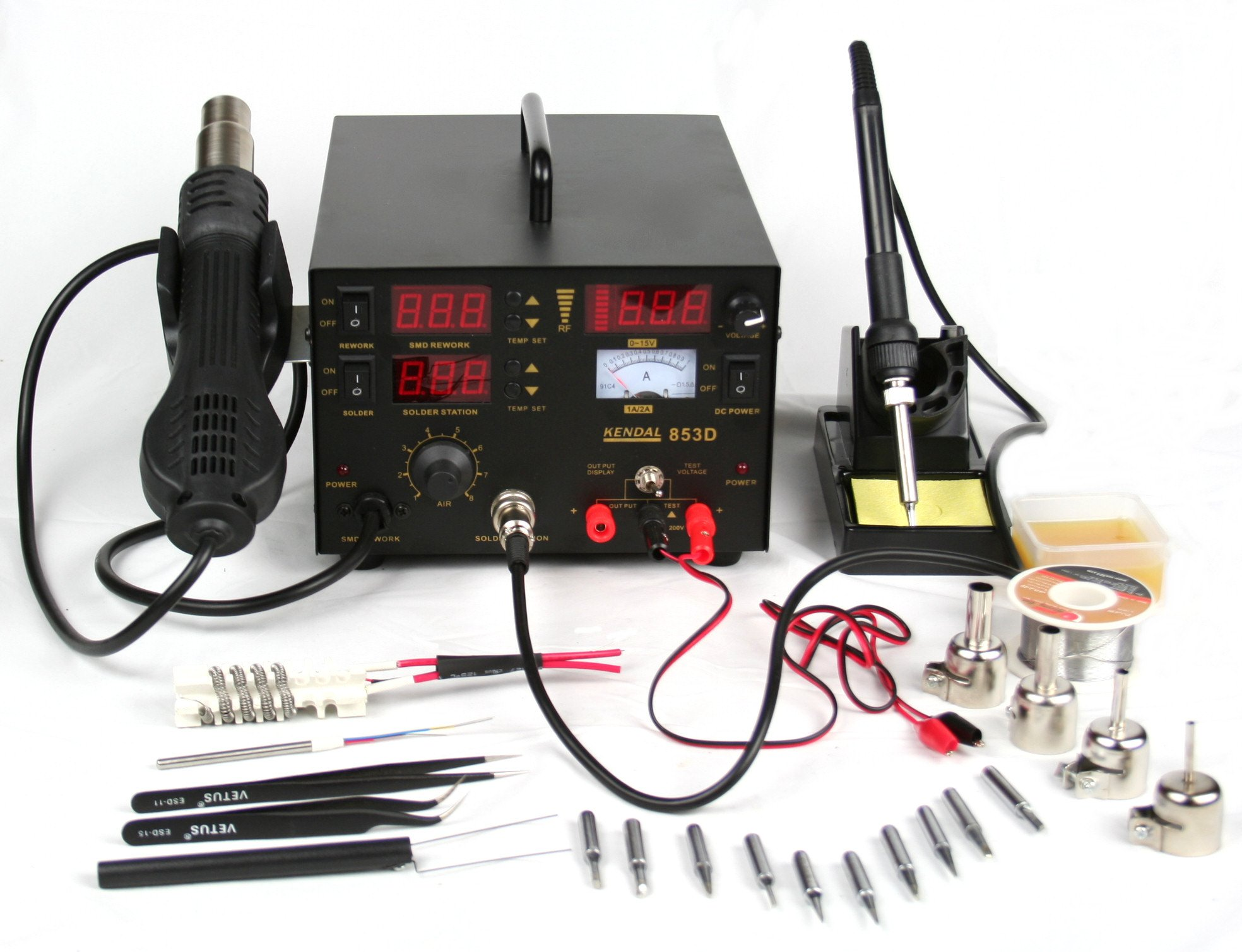 Kendal 853D 4 IN 1 SMD HOT AIR REWORK & SOLDERING IRON STATION / DC POWER SUPPLY & DC TEST METER