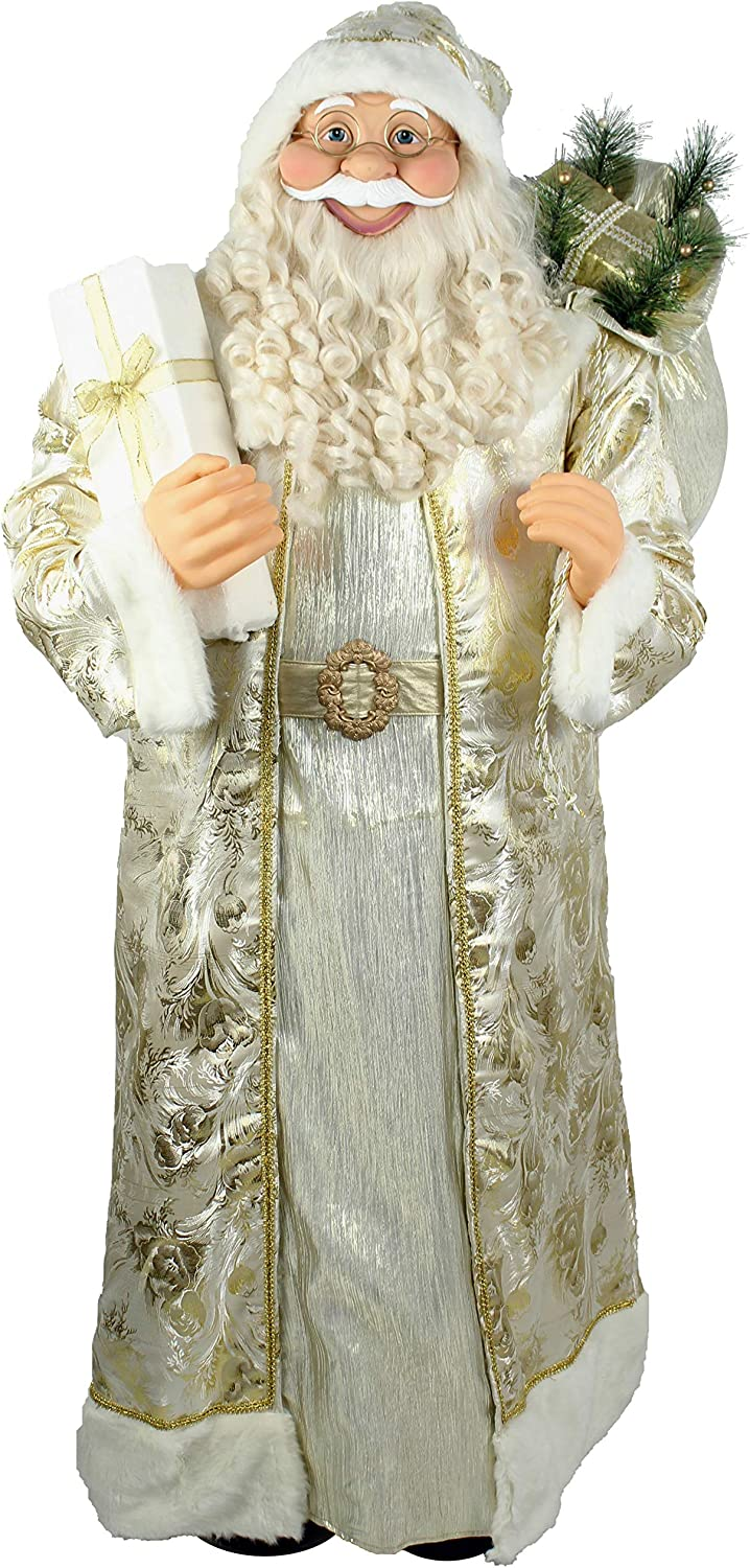 Fraser Hill Farm Life-Size Indoor Christmas Decoration, 5-Ft. Standing Santa Claus Holding a Gift & Wearing a Gold Brocade Robe w/Fur Trim, White