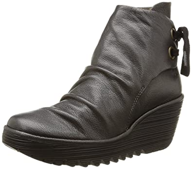 ad16d0e8 Fly london Yama Graphite Leather Womens Wedge Ankle Boots-40: Amazon ...