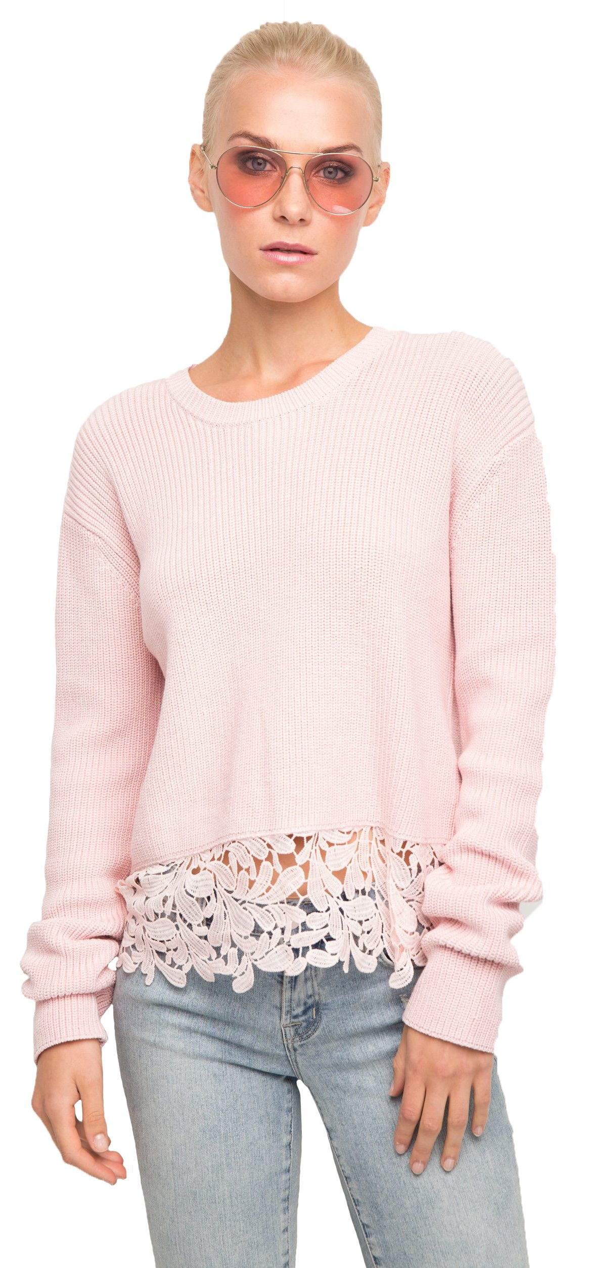 Generation Love Felix Sweater In Washed Pink, XS