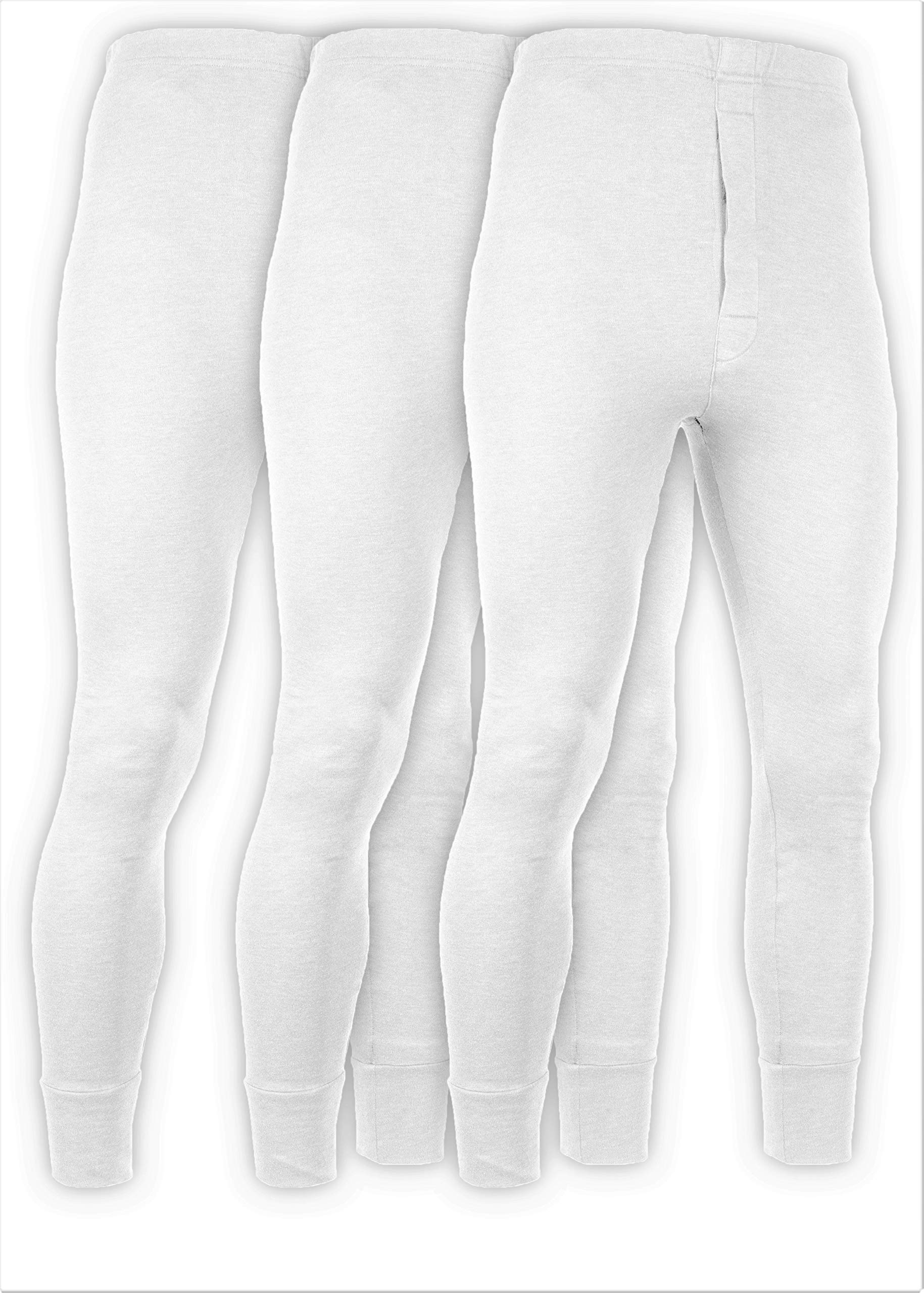 Andrew Scott Men's 3 Pack Premium Cotton Base Layer Long Thermal Underwear Pants (3 Pack -White, Large) by Andrew Scott