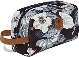 Large Makeup Bag Water Resistant Purse Travel Toiletry Bag Organizer Pouch Cosmetic Bag with Zipper and Genuine Leather Handle (Black leaf)