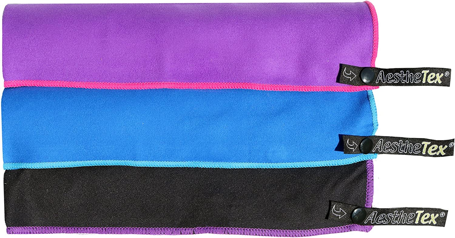 the perfect travel towel Microfibre Towel with zip carry bag Small Purpl bikram sports camping a quick dry towel in 3 stunning colours Merium or Large sizes blue, purple /& black pilates gym bath or at home swim Great for travel beach yoga