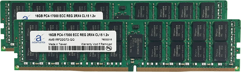 Adamanta 32GB (2x16GB) Server Memory Upgreade Compatible for Dell Precision 5810 Tower DDR4 2133MHz PC4-17000 ECC Registered Chip 2Rx4 CL15 1.2v DRAM RAM