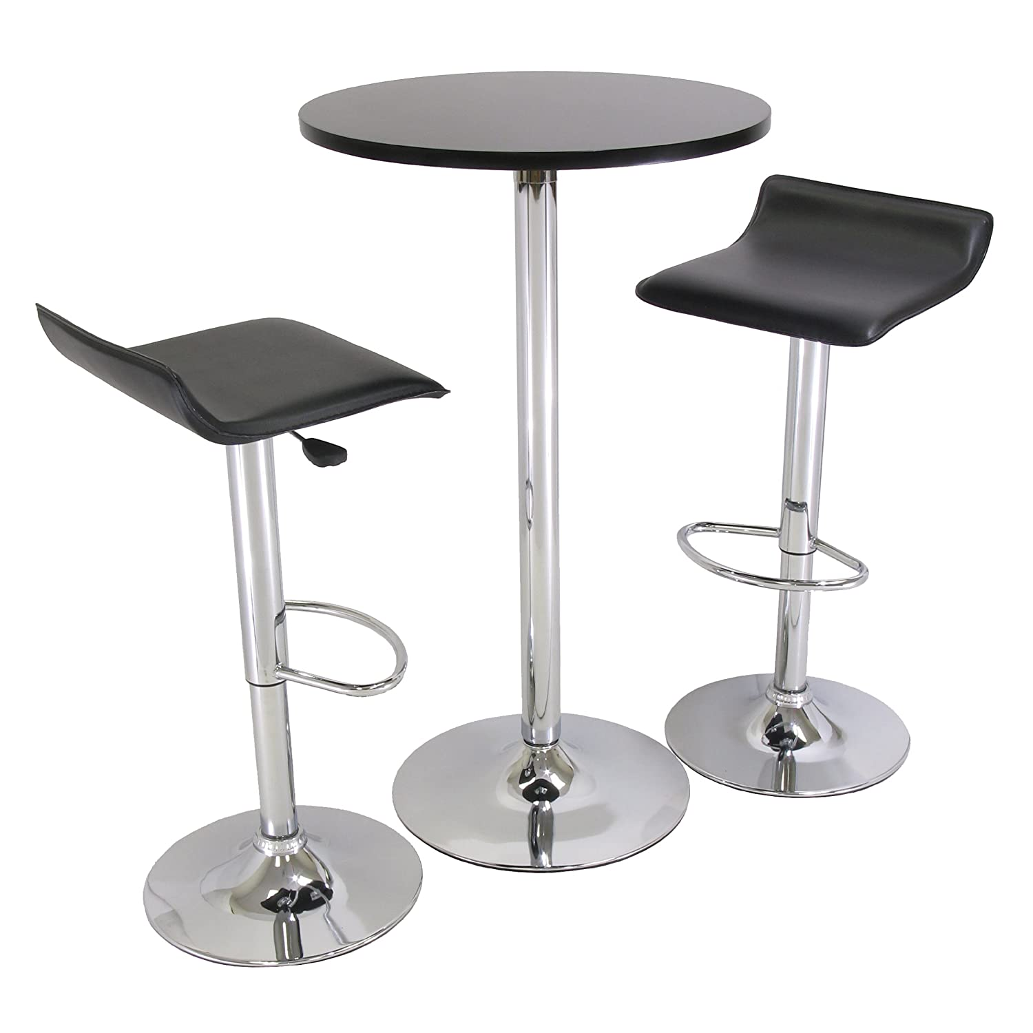amazoncom winsome 24inch spectrum 3piece pub table chrome set black round kitchen u0026 dining