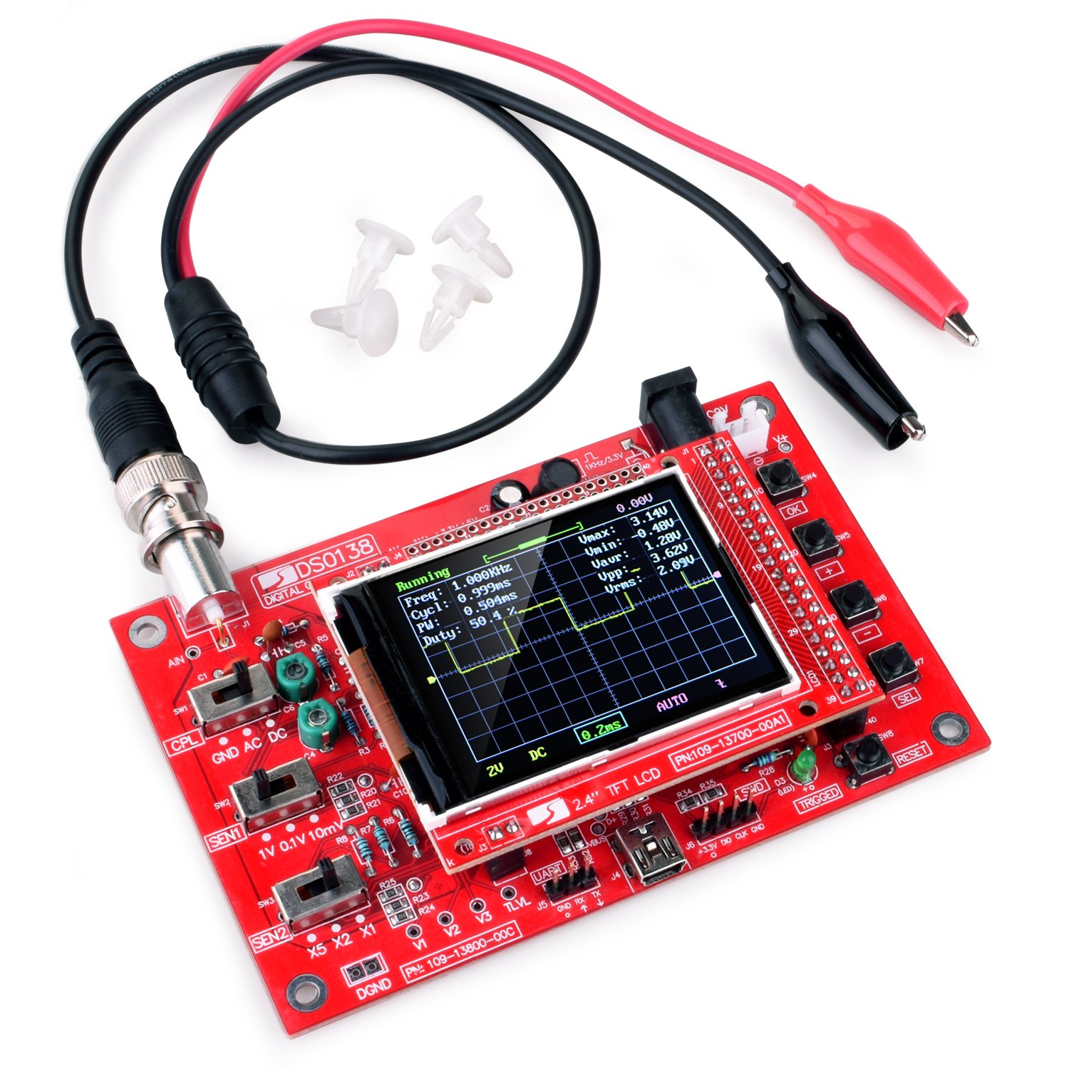 Quimat Handheld Pocket-size Digital Oscilloscope Kit Open Source 2.4 inch TFT 1Msps with Probe Assembled vision DSO138 13805K-UK