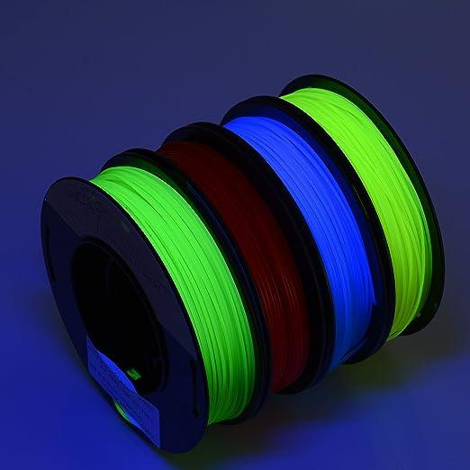PLA 1.75mm 4x250g fluorescente azul/rojo/amarillo/verde ...