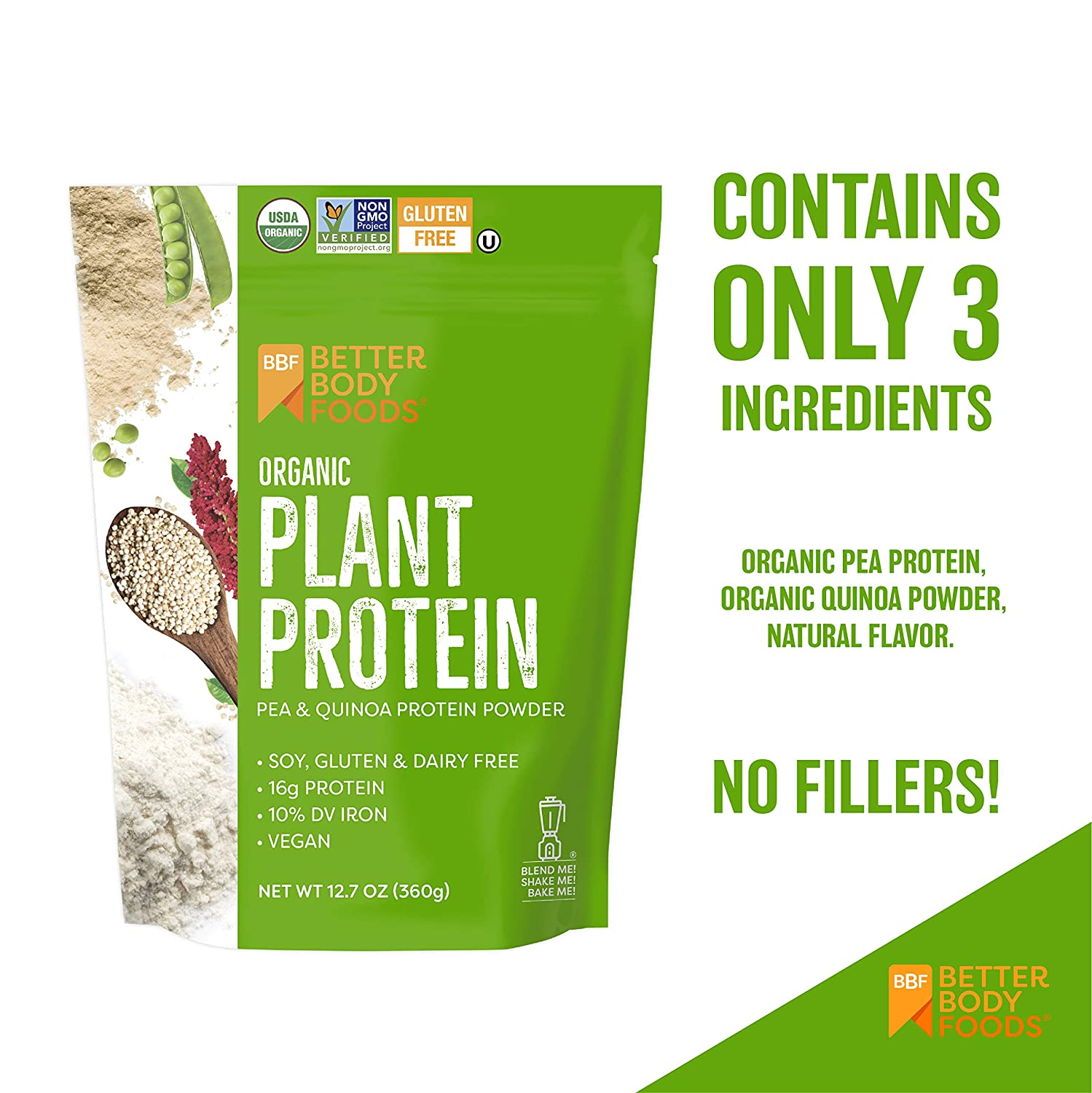Organic plant protein from Better Body Foods.