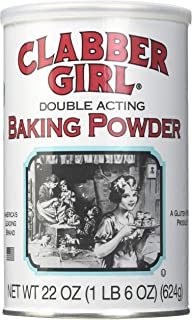 product image for Clabber Girl Baking Powder - Gluten Free, Vegan, Vegetarian, Double Acting Baking Powder in a Resealable Can, Kosher, Halal - 22 Oz Can (1)