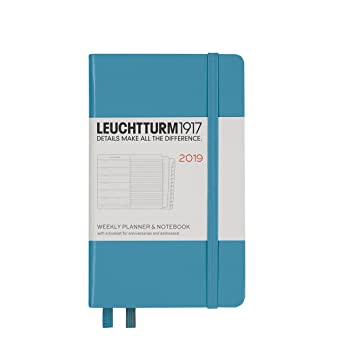 Leuchtturm1917 357815 Weekly Planner & Notebook 2019, Pocket (A6), English, Nordic Blue