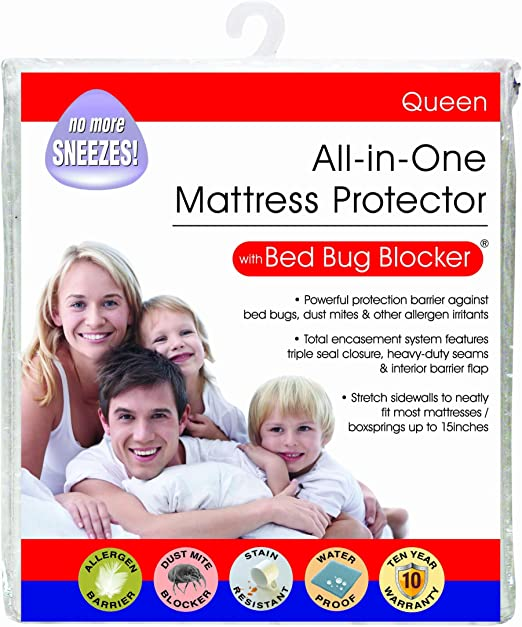 Amazon Com All In One Cotton Rich Bed Bug Blocker Zippered Mattress Protector Queen Home Kitchen