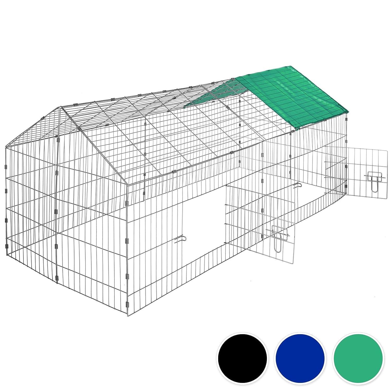 TecTake Gabbia da esterno per conigli con protezione parasole   lungh. x largh. x h 180 x 75 x 75 cm - disponibile in diversi colorei - (Tetto verde   no. 402420)