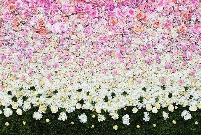 7 x 5ft boda fotografía telón de fondo Flores Verde Césped ...