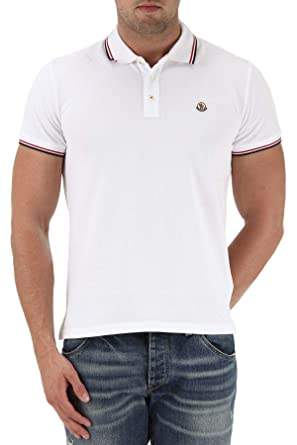 caa286ebd Moncler Men's 834560084556001 White Cotton Polo Shirt: Amazon.co.uk ...