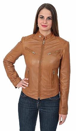 Damen Ausgestattet Motorradfahrer Stil Echtes Leder Jacke Neuer Designer  Hellbraun Weich Reißverschluss Leder Mantel - Bunny 9b911230ff