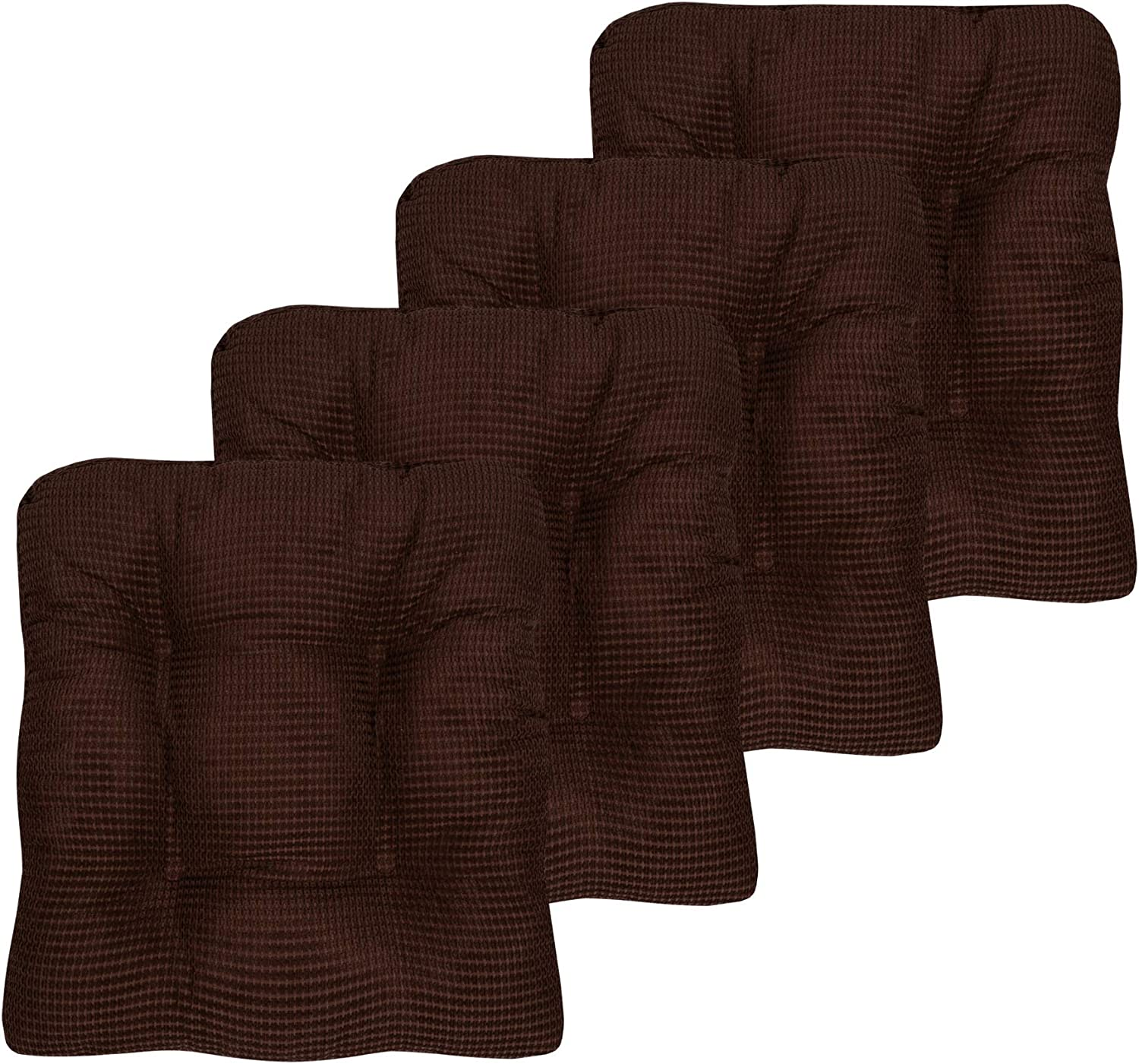 "Sweet Home Collection Chair Cushion Crushed Memory Foam Pads Premium Slip Non Skid Microdot Rubber Back Tufted 16"" x 16"" x 3.25"" Thick Seat Cover, 4 Pack, Chocolate Brown"