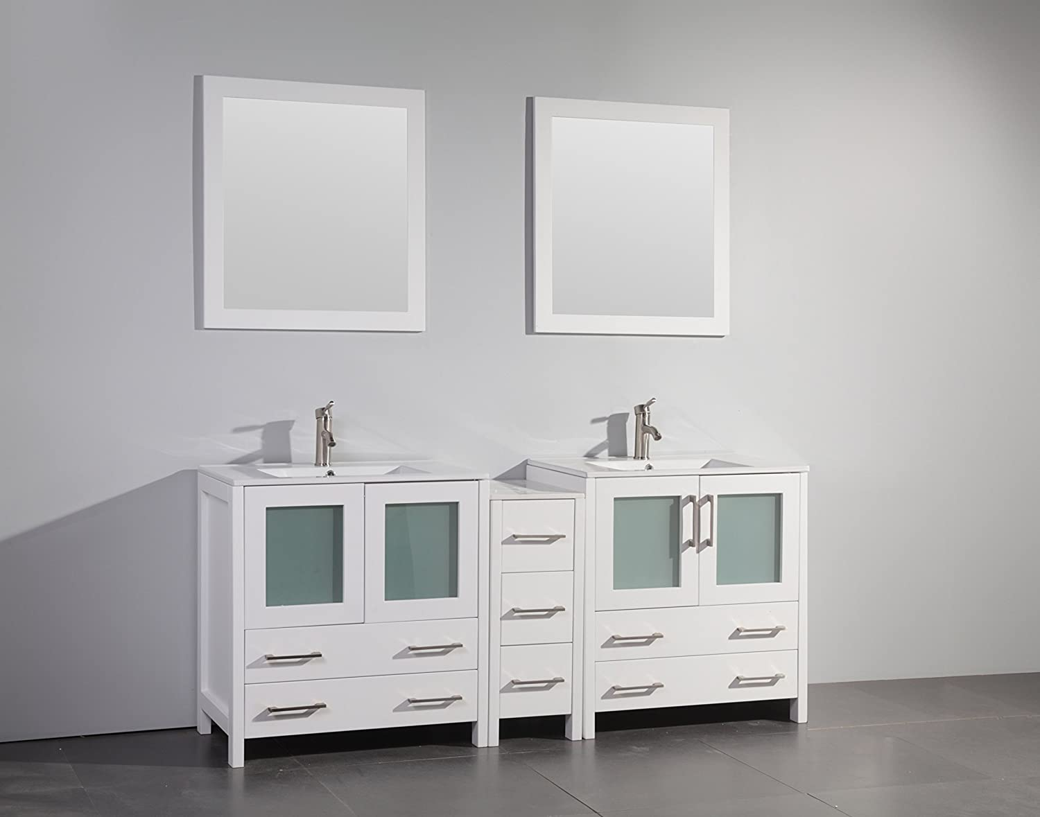 Vanity Art 96 inch Single Sink Bathroom Vanity Set with Ceramic Top ...