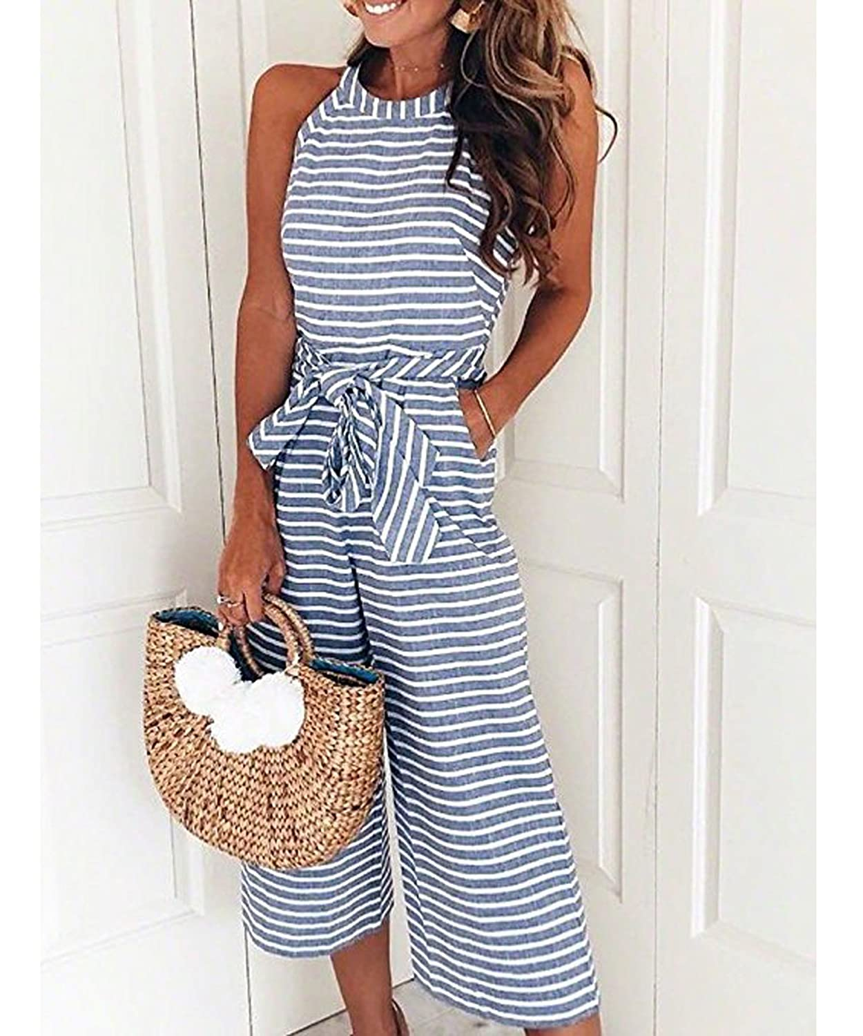 4d5a01c333c48f Amazon.com: Ru Sweet Women Striped Waist Belted Wide Leg Jumpsuit: Clothing
