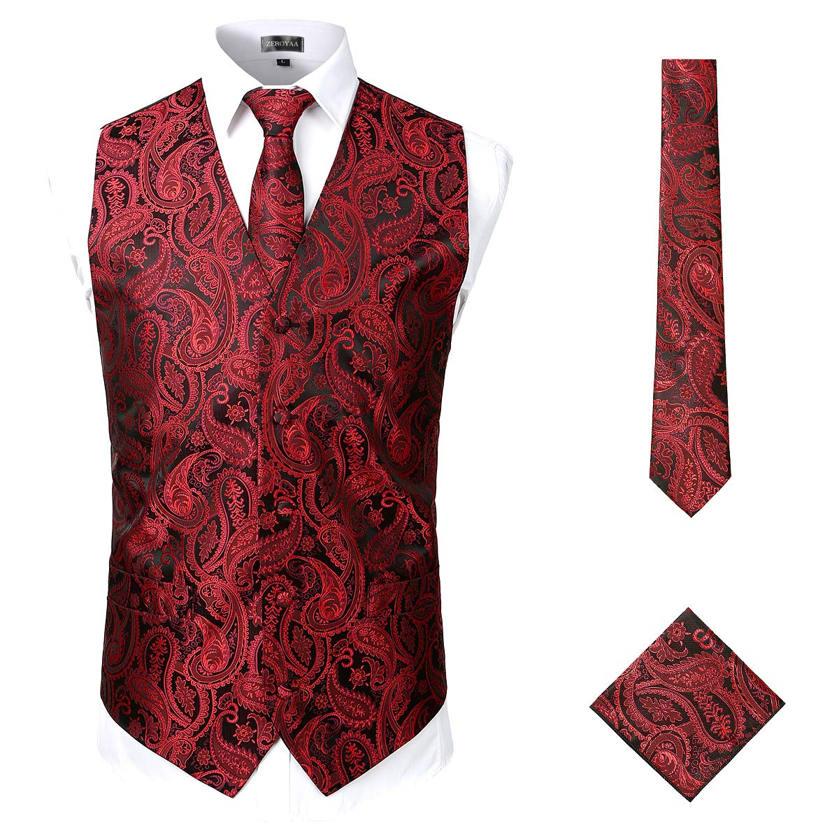 ZEROYAA Mens Classic 3pc Jacquard Paisley Vest Set Necktie Pocket Square Waistcoat for Suit or Tuxedo ZLSV08 Burgundy Large by ZEROYAA