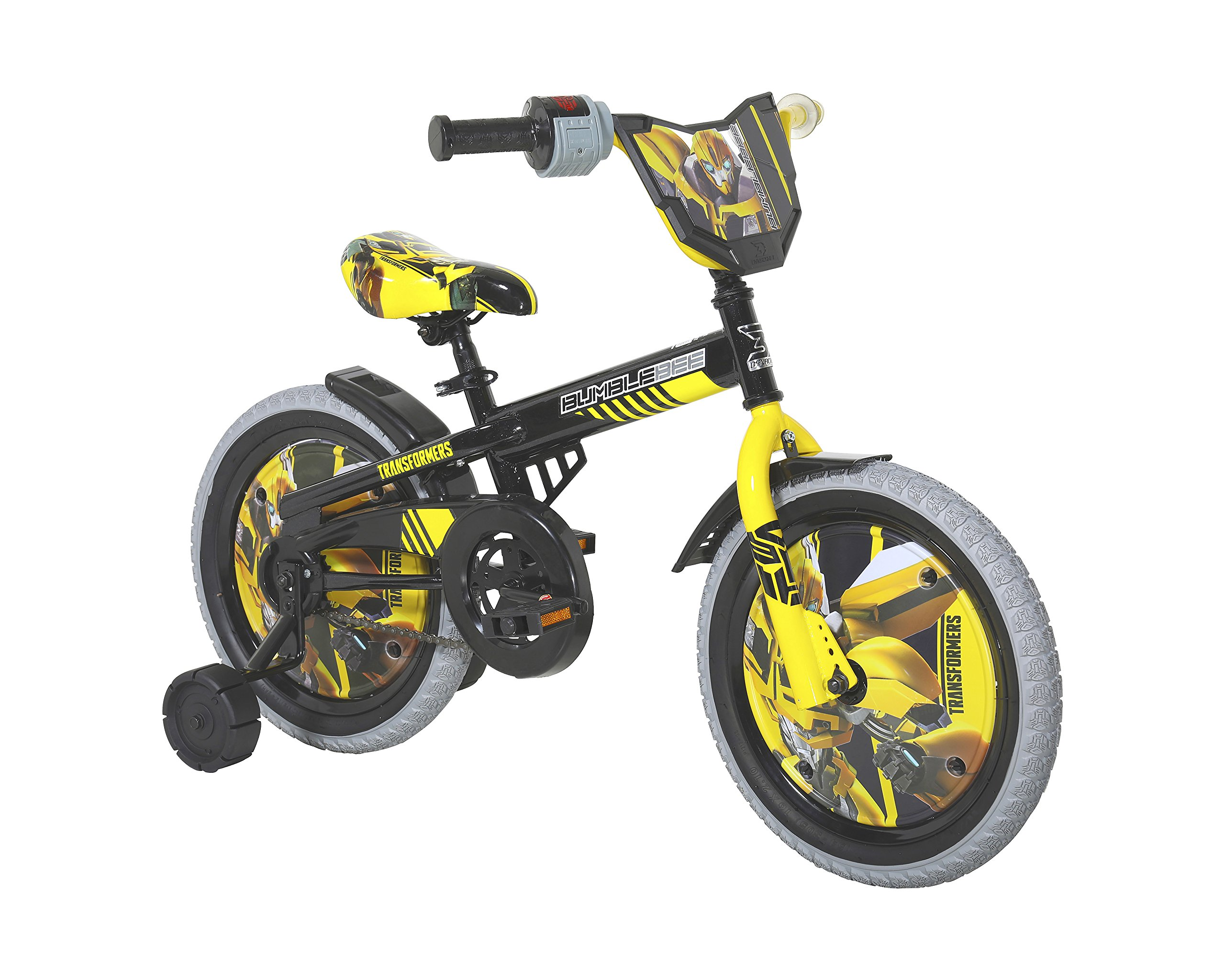 Dynacraft Transformers Bumble Bee Boys BMX Street Bike 16'', Black/Yellow/Gray