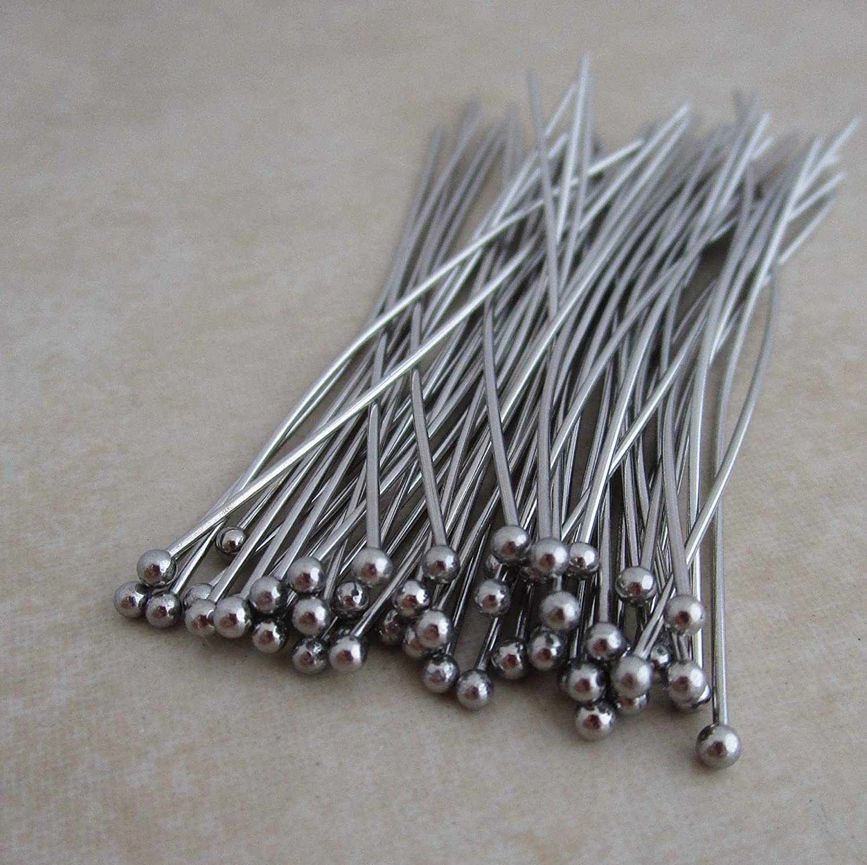 50 Stainless Steel Headpins 2 Inch 21 Gauge 1.8mm Ball