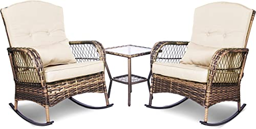 ENSTVER 3 Pieces Patio Conversation Set w/ 2 Rattan Wicker Rocking Chairs and Glass Table,for Garden Backyard Lown Porch Beige