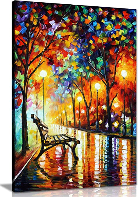 Framed Autumn Painting Landscape Laminated on Wood Home Decor Modern Look