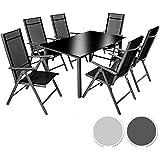 TecTake Aluminio conjunto muebles para jardin 6+1 silla adjustable mesa cristal terraza - disponible en diferentes colores - (Gris oscuro | No. 402166)