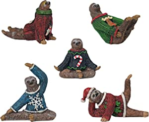 "Bella Haus Design Yoga Sloth Figurines in Ugly Christmas Sweaters 3"" - Polyresin Mini Statue for X-mas Home Decoration, Secret Santa White Elephant Gift Exchange"