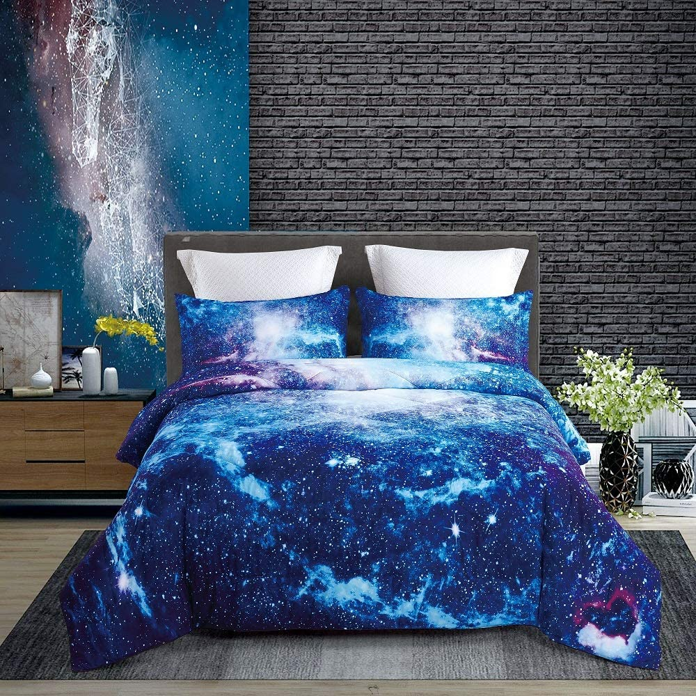 KINBEDY Tencel Cotton 3PC Blue Galaxy Comforter Sets Twin Size for Teen Kids Comforter Bedding Sets 1 Comforter with 2 Pillowcases.