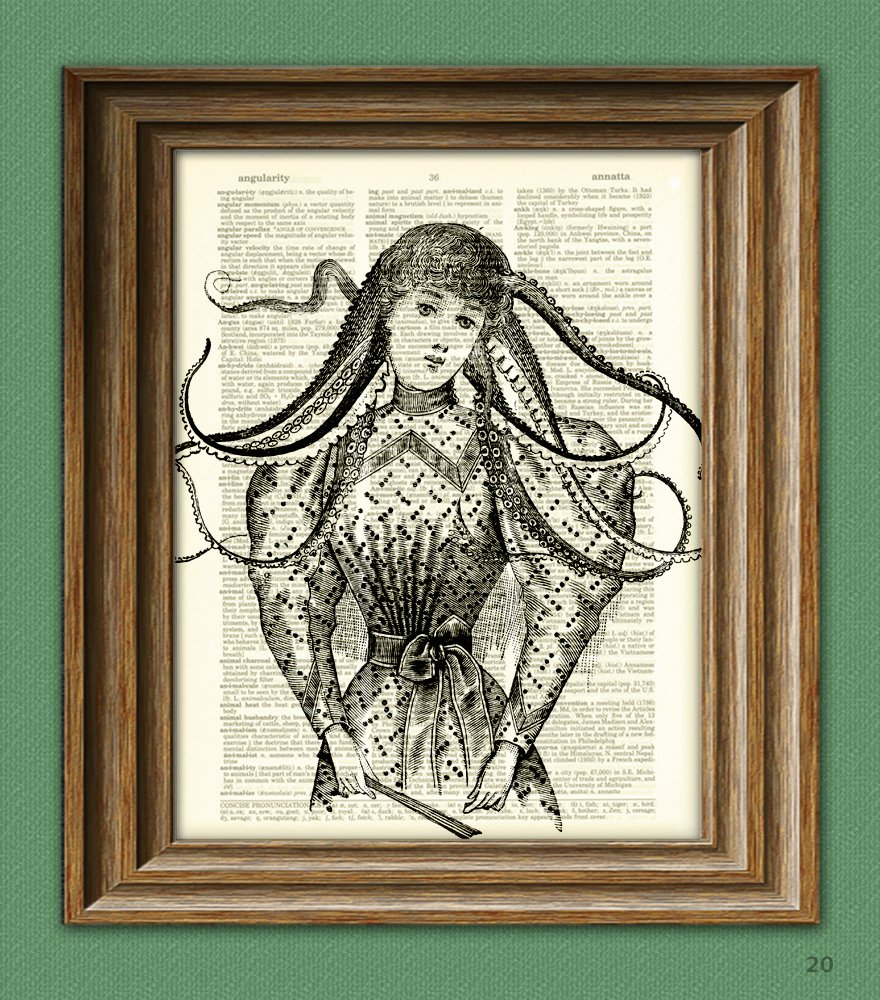 The Lady of the Deep Octopus Woman illustration beautifully upcycled vintage dictionary page book art print