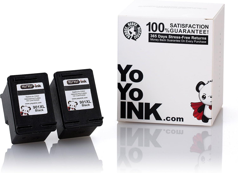 YoYoInk Remanufactured HP 901XL Black Ink Cartridge | 2 Black HP901 HP901XL 901 Ink for Printer HP Officejet 4500 J4680 J4550 J4580