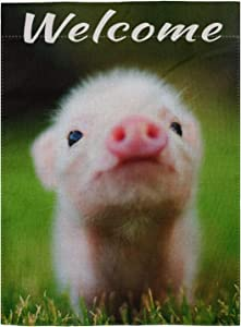 """pingpi Cute Baby Pig Welcome Qoute Double Sided Burlap Garden Flag 12.5""""x18"""""""