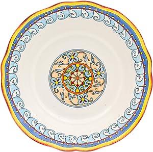 "Euro Ceramica Duomo Collection Italian-Inspired 10"" Round Ceramic Serving Bowl with Organic Edges, Floral Design, Multicolor"