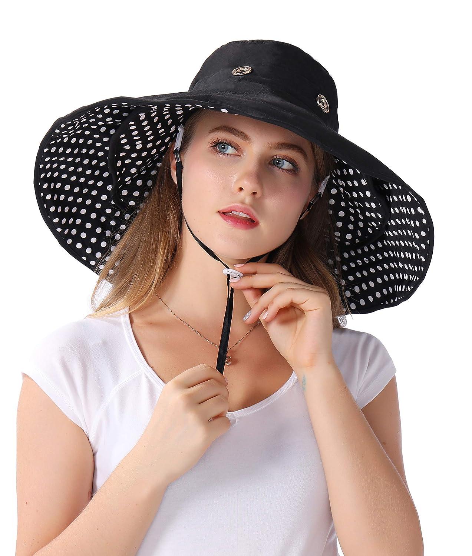 Packable Extra Large Brim Floppy Sun Hat Reversible UPF 50 Beach Sun Bucket Hat