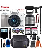 $649 Get Canon EOS M50 Mirrorless Digital Camera - Silver w/15-45mm Lens + Pro Accessory Bundle (Including Digital Flash, Sturdy Equipment Carrying Case, 2X 64GB Transcend Memory Cards and More.)