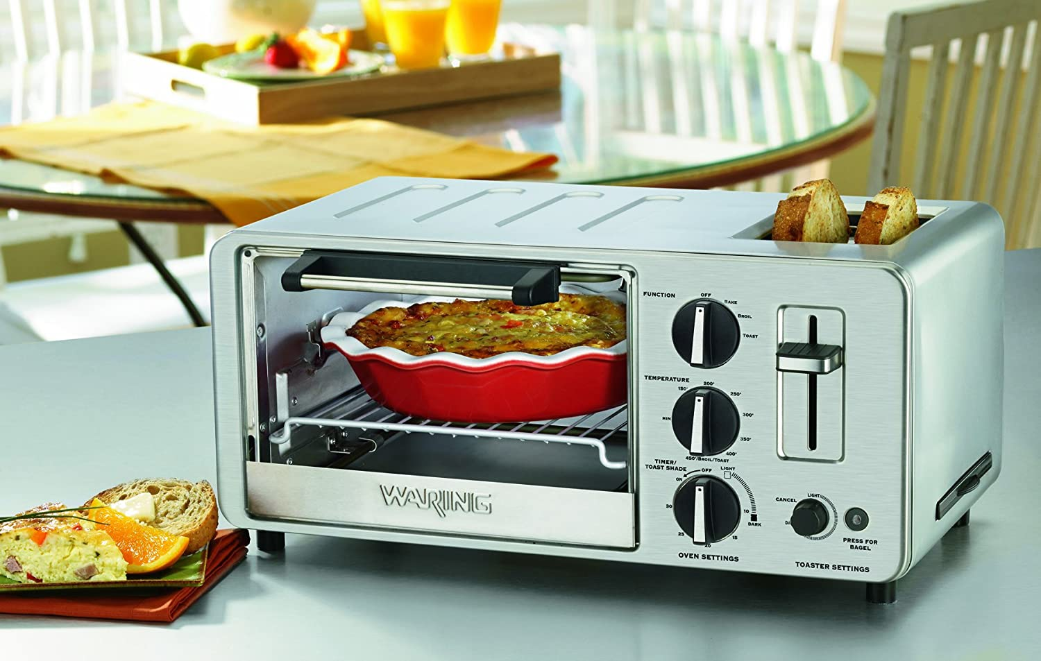 Amazon.com: Waring WTO150 4-Slice Toaster Oven with Built-In 2-Slice ...
