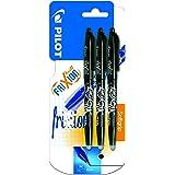Pilot Frixion - Bolígrafo roller de tinta borrable (3 unidades), color  negro